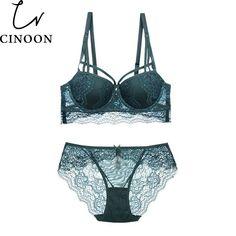 bb2d226d7a Sexy Lace Bra Set 3 4 Cup adjustable Push up Vs Bra Lingerie Underwear Sets