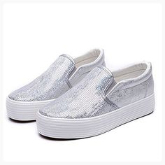 GIY Women Fashion Paillettes Round Toe Slip-on Sneaker Outdoor Breathable Casual Sports Running Shoes (*Partner Link)