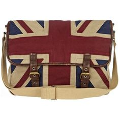 ecru union jack satchel (51 CAD) ❤ liked on Polyvore featuring bags, handbags, accessories, bolsos, london, purses, red satchel handbag, british flag purse, red satchel and red hand bags