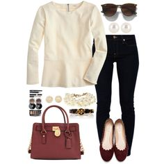 A fashion look from November 2013 featuring J.Crew tops, 7 For All Mankind jeans and Chloé flats. Browse and shop related looks.