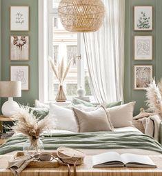 Sage Green Bedroom, Earthy Bedroom, Green Rooms, Classic Bedroom Decor, Neutral Bedroom Decor, Room Ideas Bedroom, Home Bedroom, Cream Bedroom Walls, Gallery Wall Bedroom