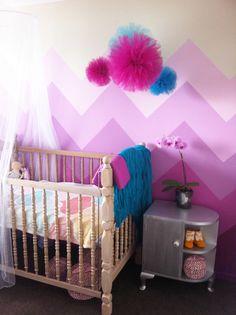 Magenta pink chevron wall in my girls room. Tulle poms DIY <3