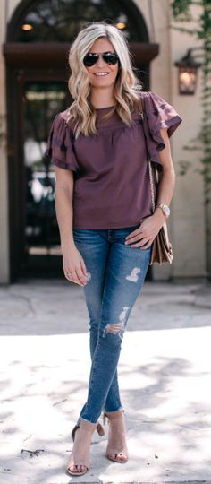 #fall #outfits  women's purple blouse