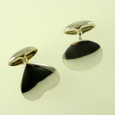Silver heart & oval cufflinks: suitable for hand engraving - (plus additional engraving) Bespoke Jewellery, Hand Engraving, Ds, Cufflinks, Pearl Earrings, Pearls, Silver, Jewelry, Pearl Studs
