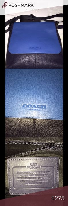 Coach shoulder handbag New with tags authentic Coach shoulder handbag. Very nice blue & black leather. Coach Bags Shoulder Bags