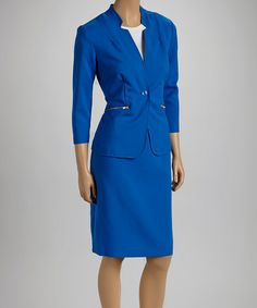 Take a look at this Cobalt Zip Pocket Blazer & Skirt by Shelby & Palmer on #zulily today! $25 !!