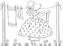 This is a handy free PDF file that you can download.  Adorable Vintage Days of the Week Embroidery patterns from Rebekah's collection.   Extra pages on ideas and stitching guides.