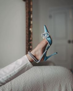"""Editorialist Magazine on Instagram: """"Elevate your look to scintillating heights with @MachandMach crystal-embellished satin pumps. 📲 DM to shop. 📷 @nikki_khanna_ @ninasandbech…"""" Satin Bows, Blue Satin, Satin Pumps, Stiletto Heels, Shoes Heels, High Heels, Clear Perspex, Ankle Strap, Lace Up"""