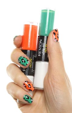 Revlon Nail Art using Neon as the base in Hot Flash and Amped Up