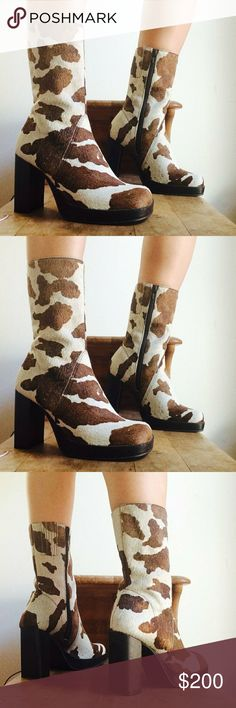 """Rare vtg 90's cow print dead stock platform boots Amazing balls vintage 90's dead stock furry cow print chunky leather boots. Made in Brazil. Size 6 US. Will fit 6-6.5 us ladies.  Yummy 3 1/2"""" thick square heel and 3/4"""" platform make this pup easy to walk.   They are in great condition. They seem were exhibition shoes. Sole shows no wear, but heel has scuffs from handling and storage. (Zoomed at last pic).   ● 20% off on bundles   Vintage deadstock moo moo cow animal print brown beige 90s…"""