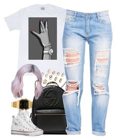 """""""Untitled #961"""" by cjasmyne ❤ liked on Polyvore featuring Casio, Gucci and Converse"""