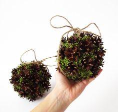 2 Natural Pine Cones Moss Balls Home Decor by TheSecretGardenn