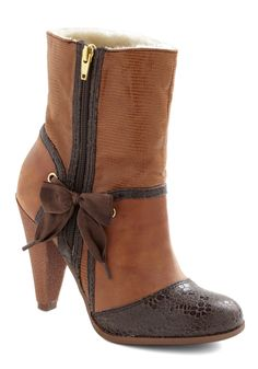 Steam Bow-t Booties by Poetic License - High, Leather, Bows, Winter, Brown, Animal Print, Exposed zipper, Top Rated