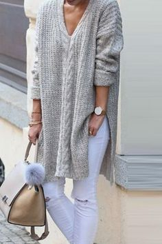 V-Neck Solid Color Long Sleeve Knit Sweater - Casual fall outfits Long Sweater Dress, Long Sleeve Sweater, Knit Fashion, Sweater Fashion, Sweater Outfits, Cute Rainy Day Outfits, Long Sweaters, Pullover Sweaters, Knit Sweaters