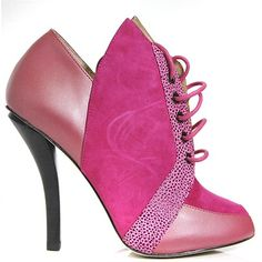 #AskAlice - Genuine Leather & Suede Tomcat Fuchsia High Heel Lace-up Booties | avail at buyinvite.com.au♥🌸♥