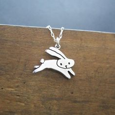 Sterling Rabbit Necklace Silver Silver Jumping Bunny by marmar