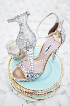 Shoe Love for Miu Miu These towering high heel sandals would be perfect for one's bridal ceremony! We are absolutely loving these stunning pieces of art. Miu Miu is known for their glitter pumps, and. Stilettos, High Heels, Cute Shoes, Me Too Shoes, Pretty Shoes, Awesome Shoes, Crazy Shoes, Dream Shoes, Bridal Shoes