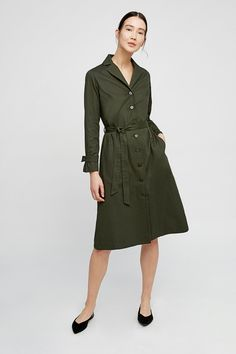 People Tree - Tia Coat Dress in Khaki Ethical Fashion Brands, Ethical Clothing, Linen Dresses, Blue Dresses, Khaki Shirt Dress, Cocoon Dress, Fair Trade Fashion, Vintage Inspired Outfits, Professional Dresses