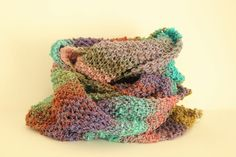 Infinity scarf or cowl, hand knit, Noro silk and lambs wool, so light and yet so warm! Beautiful multicolor