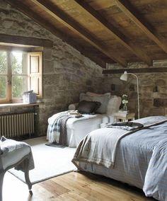 stone, loft bedroom