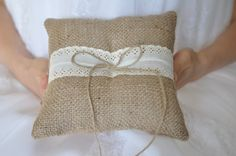 Burlap ring pillow Burlap Ring Bearer Pillow by NatalysWeddingArt, $14.00