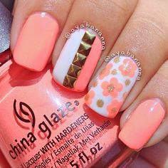 Nice Coral Nails for summer, trendy colour nails design, fairy manicure Fabulous Nails, Gorgeous Nails, Pretty Nails, Perfect Nails, Get Nails, Fancy Nails, Uñas Color Coral, Coral Pink, Bright Pink