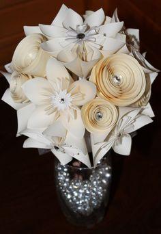 Origami Bridal Bouquet- Alternative Wedding Flowers - Paper Flower Wedding Bouquet via Etsy