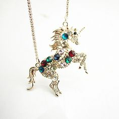 Charm Woman Colorful Crystal Steed Horse Unicorn Pendant Necklace Sweater Chain #Chain