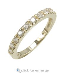 The Ziamond cubic zirconia Pillar Anniversary Band is featured in 14k yellow gold with a single row of pave set round cz.  $395 #ziamond #cubiczirconia #cz #pave #anniversaryband #ring #weddingring #14kwhitegold
