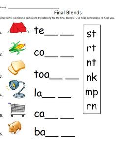 Consonant blends, Phonics and Worksheets on Pinterest