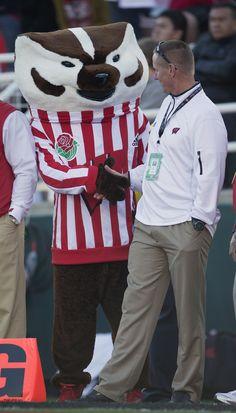 Coach Gary Andersen meets Bucky Badger