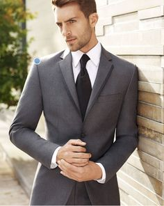Remember: ivory shirt to go with ivory dress! Groomsmen: gray tie, perhaps with meadow green stripes. Groom: grey tie, perhaps with champagne/ivory stripes. BLACK by Vera Wang- Men's Warehouse