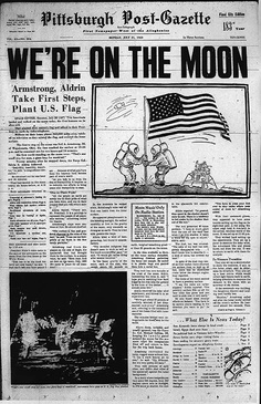 1969 moon landing newspaper   Moon landing 40 years ago today - Pittsburgh Post-Gazette