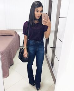 Websta @ alicevivianny - ✨ roupa para sair a noite, jeans azuis, Girl Fashion, Fashion Looks, Fashion Outfits, Womens Fashion, Cute Outfits With Jeans, Casual Outfits, Flare Jeans Outfit, Jeans Flare, Look Chic