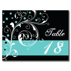 Scroll leaf black, aqua wedding Table number Post Card