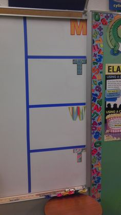 Homework board made with painters tape and pre-cut letters.
