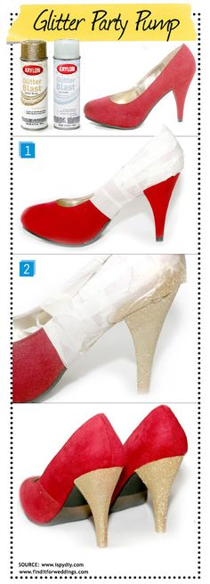 #DIY wedding shoes Add #glitter to your #shoes and create comfortable wedding shoes that look great