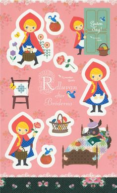 big Little Red Riding Hood sticker with wolf from Japan