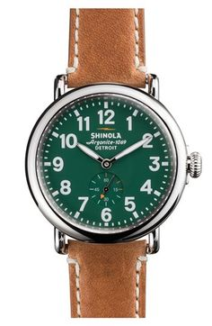 Shinola Shinola 'The Runwell' Leather Strap Watch, 41mm available at #Nordstrom