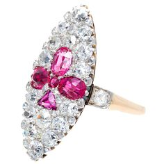 Art Deco Natural Burma Ruby And Diamond Gold And Platinum Ring, ca. 1905