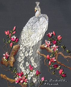 Silk Ribbon Embroidery Flowers White Peacock and Magnolias Ribbon embeoidery beautifully rendered Embroidery Works, Silk Ribbon Embroidery, Embroidery Stitches, Embroidery Patterns, Hand Embroidery, Embroidery Supplies, L'art Du Ruban, Art Du Fil, Ribbon Art