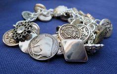 Silver Dangly Vintage Button Bracelet by RockCandyCrafts on Etsy, $16.00