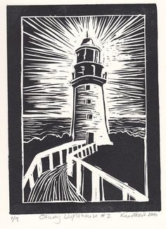 Otway lighthouse lino print by TinasPrints on Etsy Linocut Prints, Art Prints, Block Prints, Ap 12, Lino Art, Lighthouse Art, Lighthouse Drawing, Linoprint, Tampons