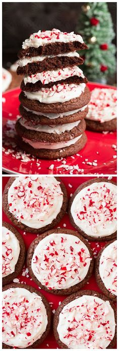 Frosted Peppermint Brownie Cookies {From Scratch}