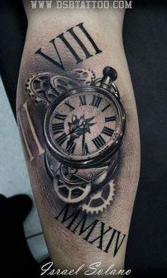 tatouage horloge realiste tatoo. Black Bedroom Furniture Sets. Home Design Ideas