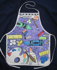 Art Supplies Kids Apron by PaulaPalette on Etsy, $15.00