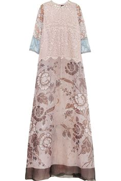 Blush and pale-blue lace, multicolored printed silk-blend organza Blush, pale-green and clear crystals, slip to line Concealed zip fastening along side 75% silk, 17% cotton, 8% nylon; slip: 100% silk Dry clean Designer color: Light Pink