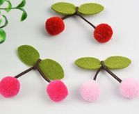 Free shipping non-woven fabric leaves with cute plush balls fabric cherries for shoes flowers 15pcs/lot