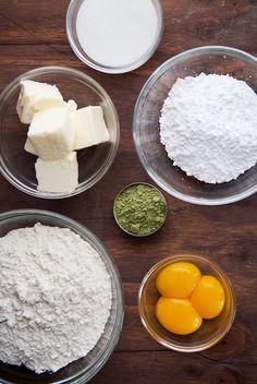 Flour + Butter + Powdered Sugar + Egg Yolks + Matcha Green Tea Powder = Matcha Shortbread Cookies