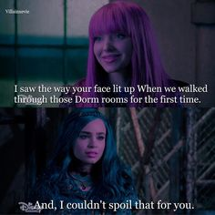 Mal and Evie in descendants 2 I adore this scene it show how their memories are combining